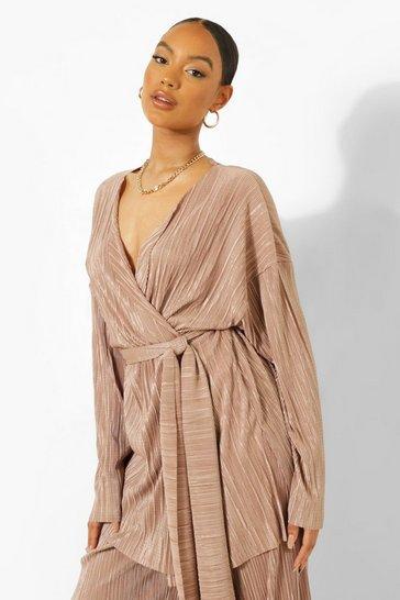 Sand beige Beige Tie Waist Plisse Kimono