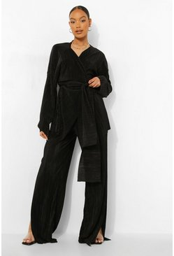 Black Split Leg Plisse Trousers