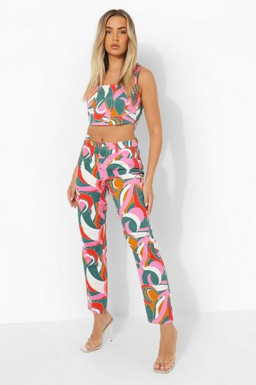 Multi Abstract Printed Boyfriend Jeans
