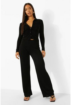 Textured Slinky Blouse & Wide Leg Trouser, Black schwarz