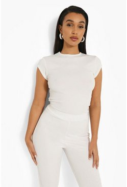 White Cap Sleeve Fitted Crew Neck Rib T-shirt