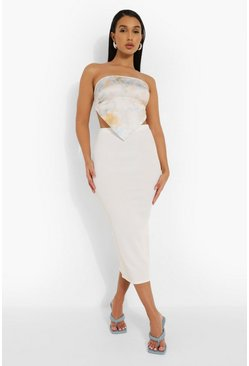 White Rib Midaxi Skirt