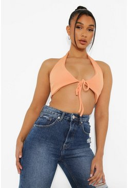 Plunge Halter Rib Crop Top, Orange naranja
