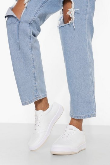 White Low Top Lace Up Trainer
