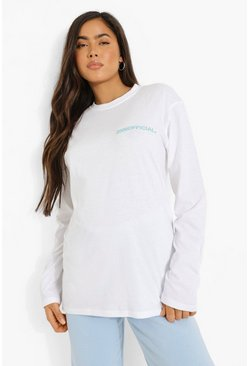 White Athletic Season Printed Long Sleeve T Shirt