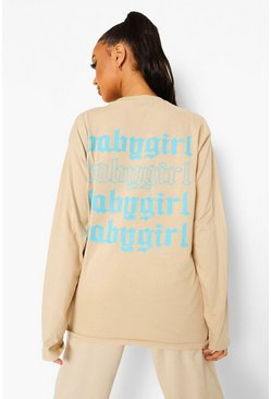 Long Sleeve Baby Girl Back Print T Shirt , Sand beige