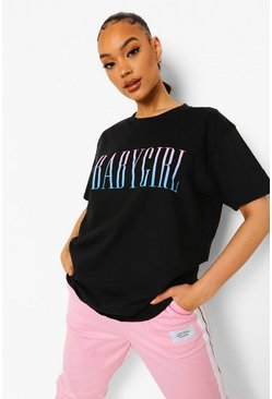 T-shirt Baby Girl, Black noir