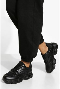 Black Panelled Runner Trainer