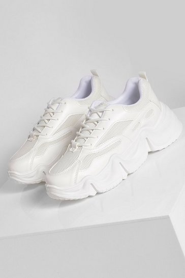 White Multi Panel Chunky Trainer