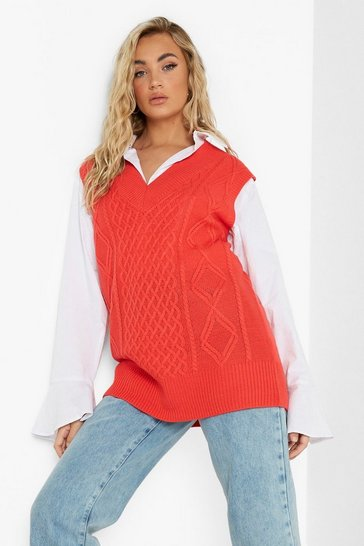 Cherry red Cable Knit Sweater Vest