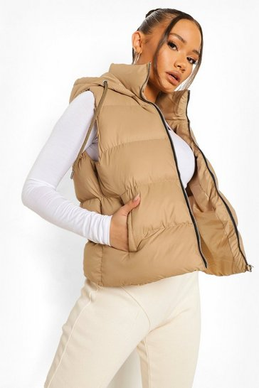 Beige Hooded Padded Gilet