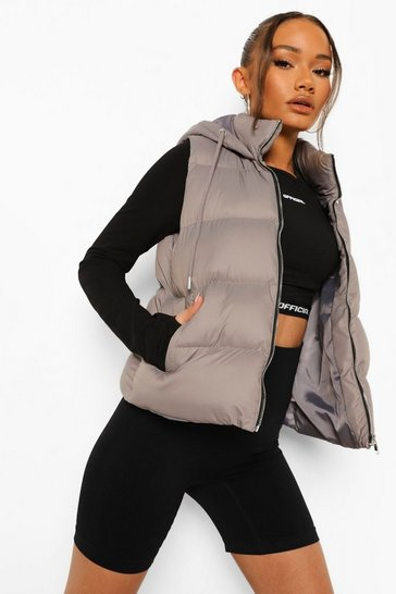 Grey Hooded Padded Gilet
