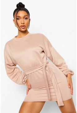 Stone beige Balloon Sleeve Tie Waist Sweat Dress