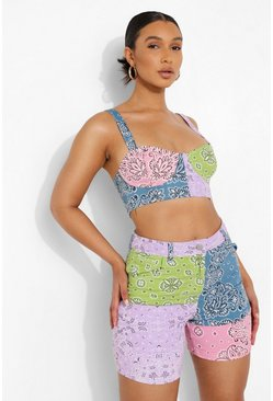 Pink Bandanna Patchwork Cupped Denim Bralet