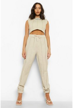 Exposed Seam Denim Jogger, Ecru blanco