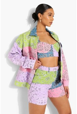 Pink Bandanna Patchwork Oversized Denim Jacket