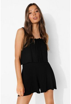 Black Layered Tie Strap Playsuit