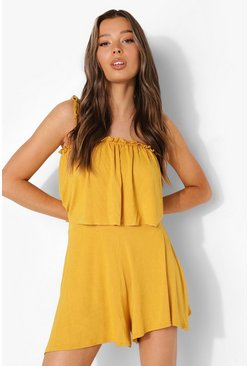 Mustard yellow Layered Tie Strap Playsuit