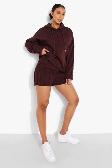 Chocolate brown Exposed Seam Denim Shorts