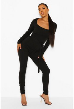 Black Square Neck Tie Waist Long Leg Unitard
