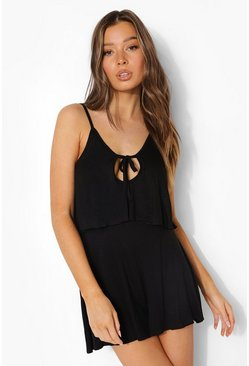 Black svart Playsuit med knytdetalj