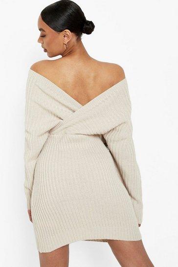 Stone beige Off The Shoulder Rib Knit Jumper Dress