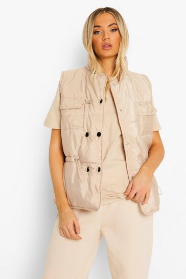 Stone beige Pocket Detail Gilet