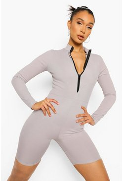 Grey Rib Zip Down Unitard Playsuit