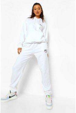 Ofcl Graffiti Hooded Tracksuit, White blanc