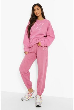 Butterfly Print Sweatshirt And Jogger Set, Pink rosa