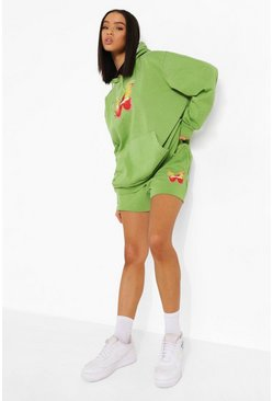 Butterfly Print Cropped Hoodie And Short Tracksuit, Lime gerde