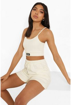 Oyster white Tall Crop Top And Short Lounge Set