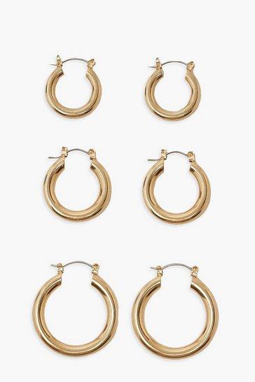Gold metallic Simple 3 Pack Mix Size Hoop Earrings