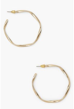 Gold metallic Loose Twist Hammered Hoop Earrings