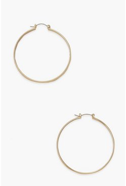 Gold metallic Thick Simple Day Hoop Earrings