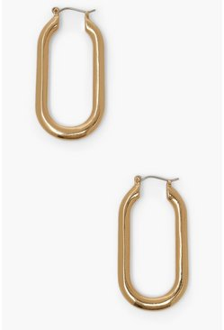 Gold metallic Smooth Angles Rectangle Hoop Earring