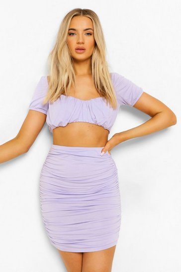 Lilac purple Ruched Sweetheart Bralette & Mini Skirt