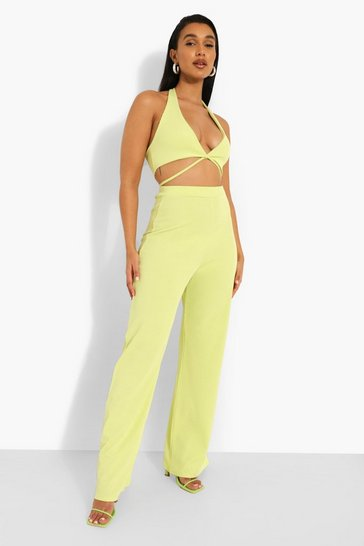 Lime green Rib Wide Leg Trousers