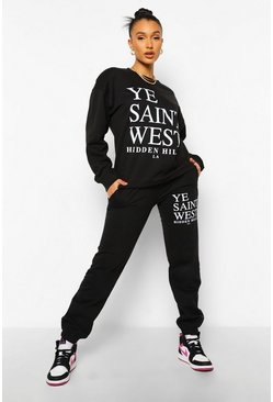 Ye Saint West Printed Tracksuit, Black noir
