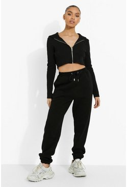 Black Rib Zip Hooded Crop & Jogger Set