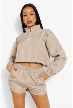 Sand beige Reflective Piping Shell Short Tracksuit
