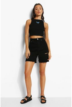 Black Embroidered Butterfly Racer Crop Top