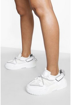White Contrast Sole Chunky Trainer