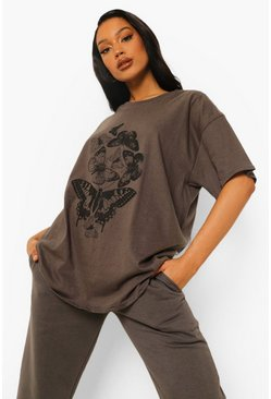 Butterfly Print Oversized T-shirt, Charcoal grau