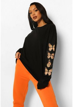 Sleeve Print Oversized T-shirt, Black noir