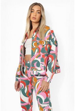 Multi Abstract Printed Cropped Denim Jacket