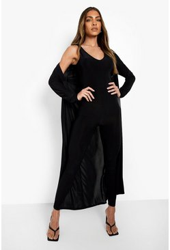 Black Plunge Jumpsuit And Duster Set
