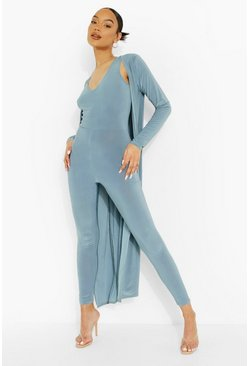 Slate blue blue Plunge Jumpsuit And Duster Set