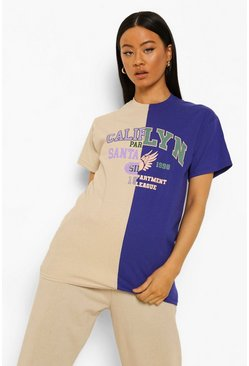 Blue Spliced Varsity Oversized T-shirt