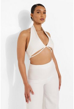 Cream white Rib Halter Crop Top
